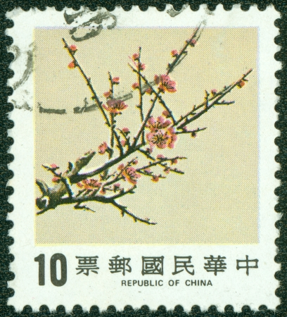 REPUBLIC OF CHINA  TAIWAN  - CIRCA 1984  A stamp printed in the Taiwan shows image of Plum Blossom, circa 1984 Stok Fotoğraf
