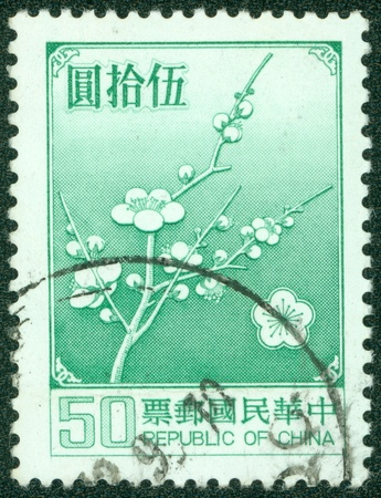 REPUBLIC OF CHINA  TAIWAN  - CIRCA 1988  A stamp printed in the Taiwan shows image of Plum Blossom, circa 1988 photo