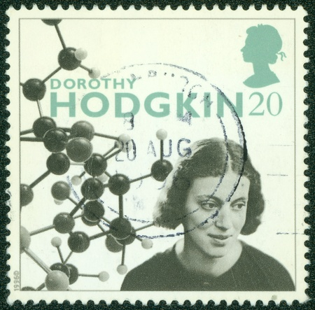 credited: UNITED KINGDOM - CIRCA 1996   A stamp printed in Great Britain shows Dorothy Hodgkin Crowfoot, was a British chemist, credited with the development of protein crystallography, circa 1996