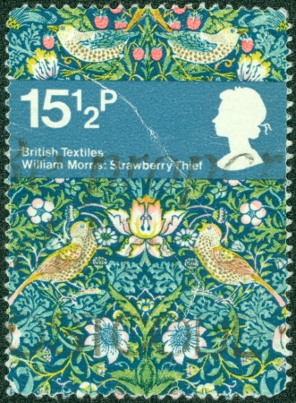 UNITED KINGDOM - CIRCA 1982  A stamp printed in United Kingdom dedicated British Textiles - Wiliam Morris  Strawberry Thief, circa 1982
