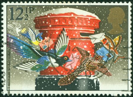 GREAT BRITAIN - CIRCA 1983  A stamp printed in the Great Britain shows Birds mailing cards, Illustration for Christmas carol, circa 1983 illustration