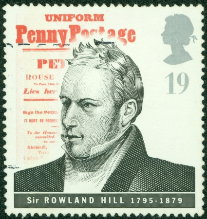 GREAT BRITAIN - CIRCA 1995  a stamp printed in the Great Britain shows Sir Rowland Hill, introduction of uniform penny postage, reformer of the postal system, circa 1995 Stock Photo - 14326748