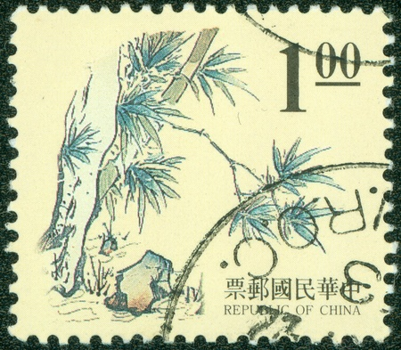REPUBLIC OF CHINA  TAIWAN  - CIRCA 1999  A stamp printed in the Taiwan shows Chinese Painting  Bamboo , circa 1999 Stock Photo - 14334213