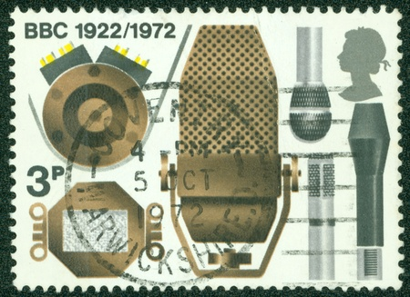 GREAT BRITAIN - CIRCA 1972  A stamp printed in Great Britain shows the different microphones, a series devoted to the 50 th anniversary BBC, circa 1972 Stock Photo - 14334216