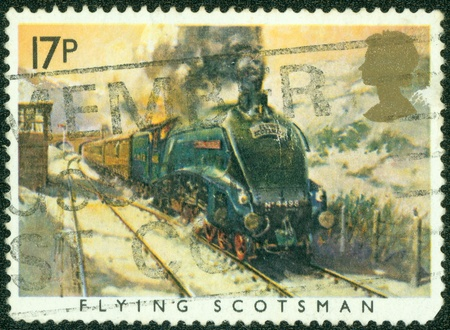 UNITED KINGDOM - CIRCA 1985  A British Used Postage Stamp showing The Flying Scotsman Train, circa 1985 photo