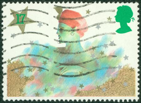 pantomime: GREAT BRITAIN - CIRCA 1985  a stamp printed in the Great Britain shows Genie, Christmas pantomime, circa 1985 Stock Photo
