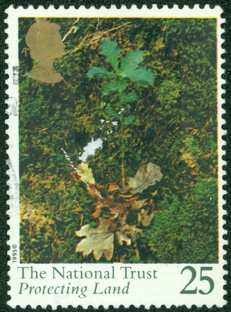 the national trust: UNITED KINGDOM - CIRCA 1995  A stamp printed in Great Britain shows The National Trust, protecting land, circa 1995