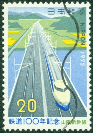 freight train: JAPAN - CIRCA 1972  A stamp printed in Japan shows Train Route, circa 1972 Editorial