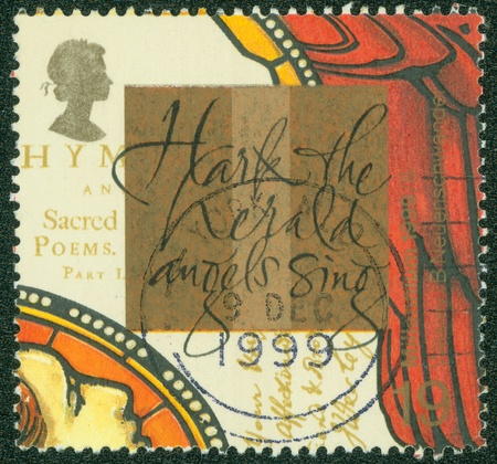 hymn: UNITED KINGDOM - CIRCA 1999  A stamp printed in England, is dedicated to John Wesley, founder of Methodism, and  Hark, The Herald Angels Sing , hymn by brother Charles, circa 1999 Editorial