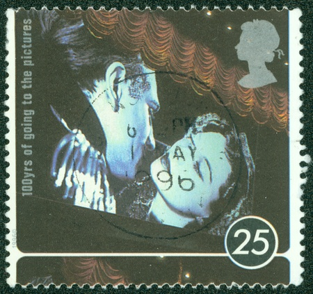 UNITED KINGDOM - CIRCA 1996  A stamp printed in UNITED KINGDOM shows Clark Gable and Vivien Leigh  Gone with the Wind , circa 1996