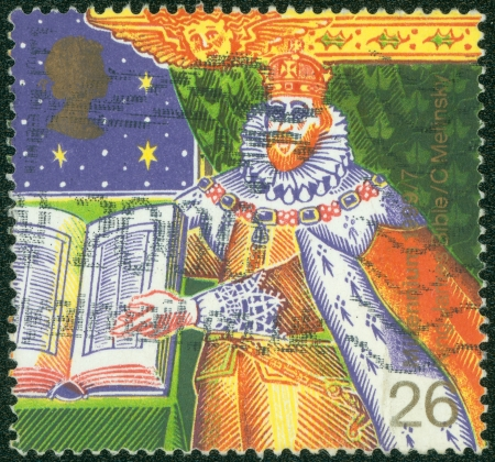 king james: UNITED KINGDOM - CIRCA 1999  A stamp printed in England, shows the King James I of England with the Bible, circa 1999