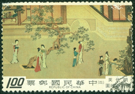 TAIWAN - CIRCA 1980  A stamp printed in Taiwan shows a traditional painting of  Spring Morning in the Han Palace by Ch iu Ying, a famous artist during Ming Dynasty, circa 1980 Editorial