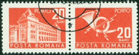 ROMANIA - CIRCA 1967  A stamp printed in Romania shows Central Post Office building  National museum of Romanian history now , circa 1967  Stock Photo - 14525693