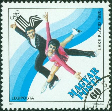 HUNGARY - CIRCA 1979  a stamp printed by Hungary, shows Figure skating, circa 1979
