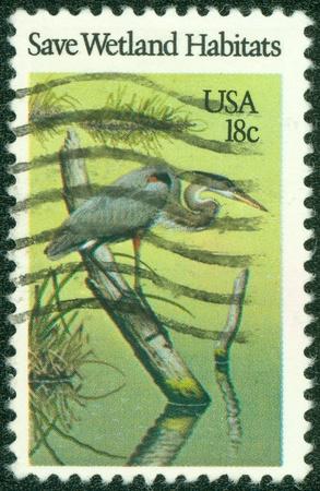 USA - CIRCA 1981  A Stamp printed in USA shows the Heron, Preservation of Wildlife Habitats, circa 1981