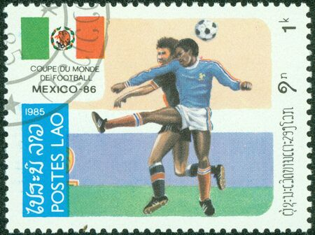 LAOS - CIRCA 1985  stamp printed by Laos, shows soccer championships, circa 1985  Stock Photo - 14520962