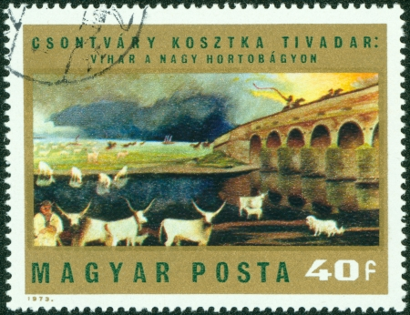 magyar: HUNGARY - CIRCA 1973  A stamp printed in Hungary from the  Paintings by Csontvary Kosztka  issue shows  Storm over Hortobagy Puszta , circa 1973  Editorial