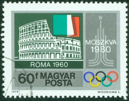 HUNGARY - CIRCA 1979  stamp printed by Hungary, shows Colosseum, Rome, Italian flag, Moscow Emblem, circa 1979