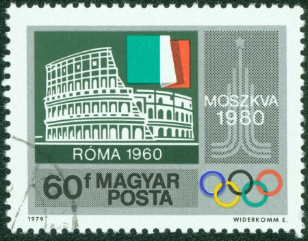 olympiad: HUNGARY - CIRCA 1979  stamp printed by Hungary, shows Colosseum, Rome, Italian flag, Moscow Emblem, circa 1979