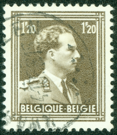 leopold: BELGIUM - CIRCA 1952  A stamp printed by Belgium, shows king Leopold III, circa 1952