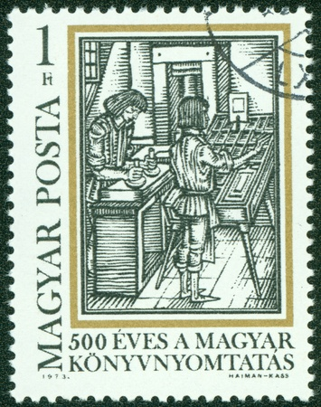 magyar posta: HUNGARY - CIRCA 1973  A stamp printed by Hungary, shows Typesetting, from  Orbis Pictus,  by Comenius, circa 1973 Editorial
