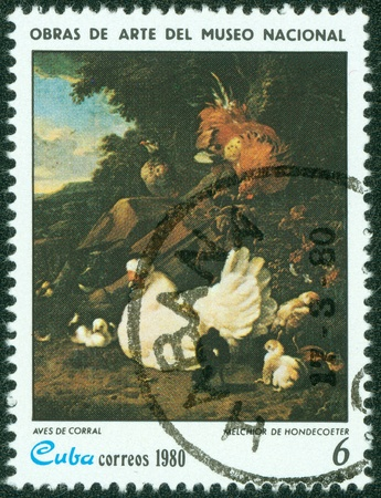 melchior: CUBA - CIRCA 1980  A stamp printed in CUBA shows the  Domestic Fowl , by Melchior De Hondecoeter, from the series  Paintings in the Natl Museum , circa 1980 Editorial