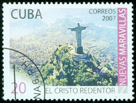 CUBA - CIRCA 2007 Un sello impreso en Cuba muestra del paisaje de R�o de Janeiro, alrededor del a�o 2007