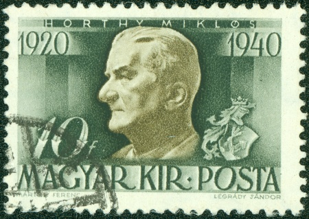 HUNGARY - CIRCA 1938  stamp printed by Hungary, shows Admiral Horthy, circa 1938 Stock Photo - 14520999
