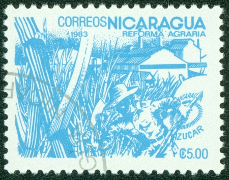 agrarian: NICARAGUA - CIRCA 1983  A stamp printed in Nicaragua shows image of agrarian reform, Sugar, circa 1983