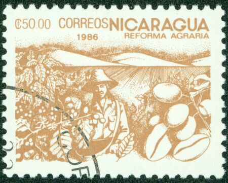 granger: NICARAGUA-CIRCA 1986 A stamp printed in NICARAGUA shows image of agrarian reform, circa 1986