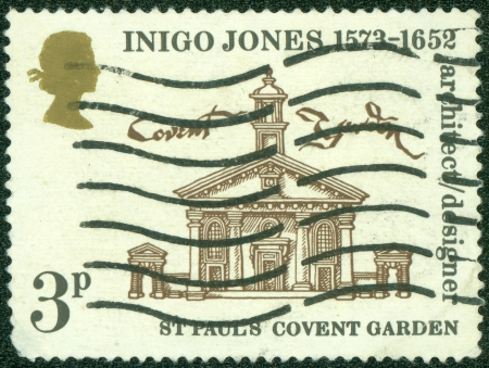 covent: UNITED KINGDOM - CIRCA 1980  A British Used Postage Stamp showing st pauls covent garden, circa 1980 Editorial