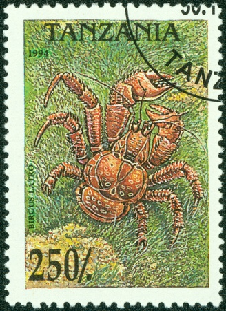coconut crab: TANZANIA - CIRCA 1994  A stamp printed in Tanzania shows crab birgus latro , circa 1994