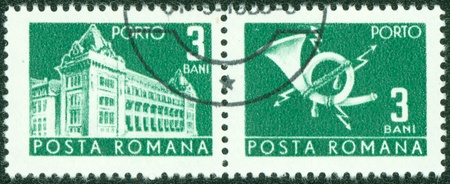 ROMANIA - CIRCA 1967  A stamp printed in Romania shows Central Post Office building  National museum of Romanian history now , circa 1967  Stock Photo - 14581841