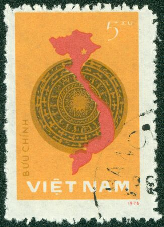 VIETNAM - CIRCA 1976  A stamp printed in Vietnam showing a map of Vietnam, circa 1976 Stock Photo - 14591445