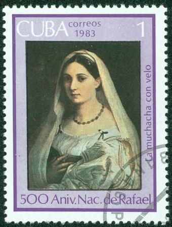 CUBA - CIRCA 1983  Stamp printed in Cuba shows Rafael  The veiled girl , circa 1983 Stock Photo - 14581845