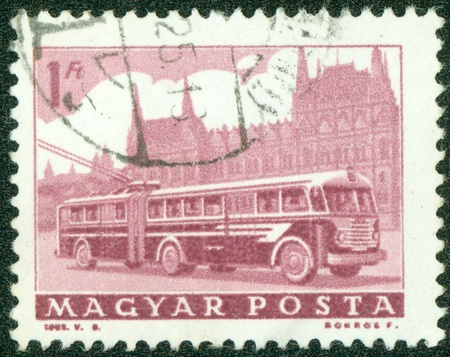 magyar: HUNGARY - CIRCA 1962  A stamp printed in Hungary shows image of a trolley bus, circa 1962