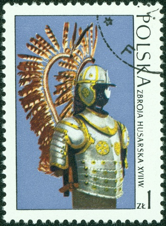 POLAND - CIRCA 1973  A stamp printed in Poland shows the armor of the Polish cavalry, stamp from series of masterpieces of Polish Art, circa 1973 Stock Photo - 14591449