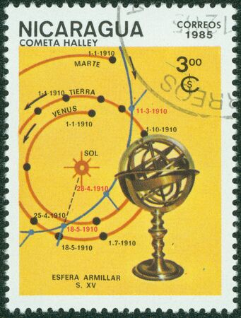 canceled: NICARAGUA - CIRCA 1985  A canceled stamp printed in Nicaragua shows image of comet Hally circa 1985