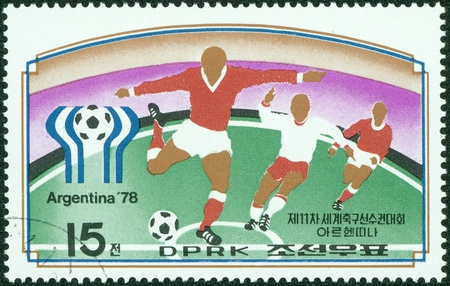 NORTH KOREA - CIRCA 1978  a stamp printed by North Korea shows football players  World football cup in Argentina, circa 1978