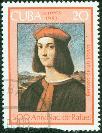 CUBA - CIRCA 1983  A Stamp shows Raphael s painting  Portrait of a young man , circa 1983 Stock Photo - 14660975