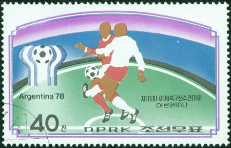 NORTH KOREA - CIRCA 1978  a stamp printed by North Korea shows football players  World football cup in Argentina, circa 1978 photo