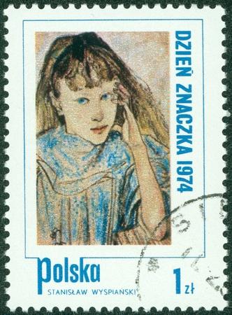 POLAND - CIRCA 1974  A Stamp printed in Poland shows children s portrait by artist Stanislav Wyspianski, circa 1974 Stock Photo - 14762913
