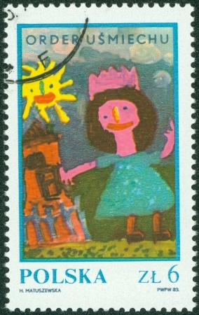 POLAND - CIRCA 1983  Children s drawing  Girl near house , circa 1983