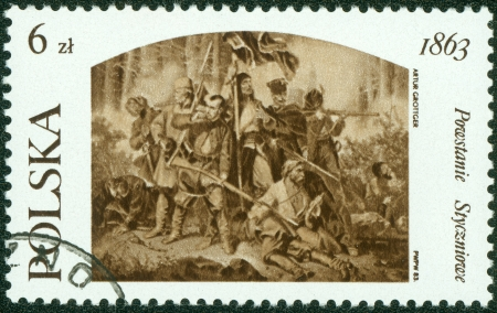 POLAND - CIRCA 1983  A postage stamp printed in the Poland shows image of the history of Poland, revolt 1863 in Poland  Artur Grottger , circa 1983