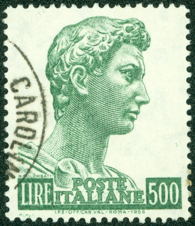 ITALY - CIRCA 1956  A stamp printed by Italy, shows St  George, by Donatello, circa 1956 Stock Photo - 14762930