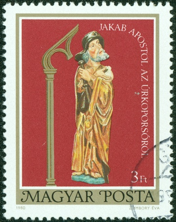 HUNGARY - CIRCA 1980  a stamp from Hungary shows image of the Apostle Jacob, circa 1980