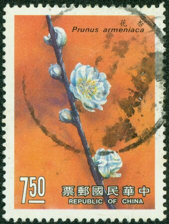 REPUBLIC OF CHINA  TAIWAN  - CIRCA 1983  A stamp printed in the Taiwan shows image of Plum Blossom, circa 1988 photo