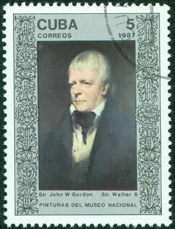 sir walter scott: CUBA - CIRCA 1987  A Stamp printed in CUBA shows the painting  Sir Walter Scott , by Sir John W  Gordon, from the series  Paintings in the Natl Museum , circa 1987