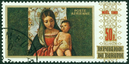 BURUNDI - CIRCA 1969  A stamp printed by Burundi shows Virgin and Child series Christmas, circa 1969 photo