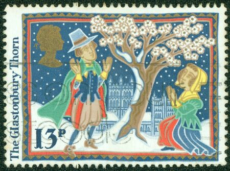UNITED KINGDOM - CIRCA 1986  A stamp printed in England, shows Christmas  Glastonbury Thorn, circa 1986